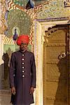 Guard in turban at City Palace, Jaipur, Rajasthan state, India, Asia