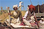 Men in turbans at cattle fair near Dechhu, north of Jodhpur, Rajasthan state, India, Asia