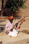 Musician at fort, Jodhpur, Rajasthan state, India, Asia
