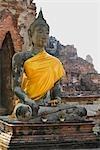 Assis Bouddha Statue, Temple Mahathat, Ayutthaya parc historique, Ayutthaya, Thaïlande