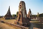 Ancient Stupas and Prang at Mahathat Temple, Ayutthaya Historical Park, Ayutthaya, Thailand