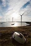 Boat and Wind Turbines, Ebeltoft, Syddjurs Municipality, Region Midtjylland, Jutland, Denmark