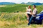 Lost Couple Reading Road Map, Chianti, Tuscany, Italy
