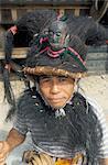 Portrait of a traditional warrior, Bawomataluo village, Nias island, Indonesia, Southeast Asia, Asia