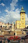 Rathaus with Renaissance tower and Rathauskapelle, Hauptplatz, Retz, Lower Austria, Austria, Europe