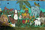 Painting on school wall, Charlotte Amalie, St. Thomas, U.S. Virgin Islands, West Indies, Caribbean, Central America