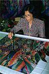 Demonstration of batik painting, Kuala Lumpur, Malaysia, Southeast Asia, Asia