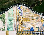 Von Gaudi Mosaiken, Park Güell, Barcelona, Katalonien, Spanien, Europa