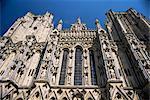 Architektonische Detail, Westfront, Kathedrale von Wells, Somerset, England, Vereinigtes Königreich, Europa