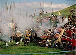 Bürgerkrieg-Re-enactment von Sealed Knot, in der Nähe von Edgehill, Warwickshire, England, Vereinigtes Königreich, Europa