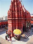 Durga Temple, 18th century Nagara style, painted in red ochre, Varanasi (formerly Benares), Uttar Pradesh, India, Asia