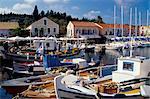 Boats in Fiscardo harbour, Cephalonia (Kefallinia), Ionian Islands, Greece, Europe