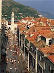 Looking down the main street (Placa) to clock tower, Dubrovnik, Croatia, Europe