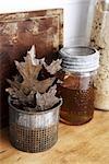 Dry Oak Leaves and Jar of Honey