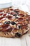 Gros plan du Pepperoni et champignons Pizza