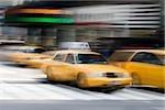 Yellow taxi's on a city street, Manhattan, New York City