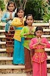 Balinese girls looking at camera