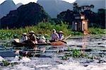Vietnam, Perfume Pagoda, Hanoi, Villagers in a small boat
