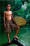 Malaysia, sarawak, Sri Aman Division, Engkilili, Iban Boy at riverside