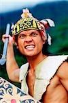 Malaysia, Sarawak, Santubong Cultural Village, Orang Ulu Warrior in traditional dress