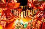 Singapore, Chinatown market during Chinese New Year, Chinese lanterns in foreground