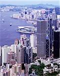 Port de Hong Kong, vue depuis le sommet, affichage jour