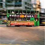 China, Hong Kong, Wanchi, Tram in motion