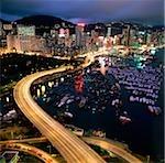 China, Hong Kong, Causeway Bay at dusk