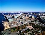 Japan, Yokohama, Ariel view of port area, Yamashita Koen Park in foreground,