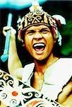 Malaysia, Sarawak, Orang Ulu Warrior with spear raised