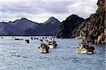 Vietnam, Halong Bay, Cat Ba Island, Fishing fleet heading out to sea