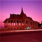 Cambodge, Phnom Penh, Chan Chaya pavillon du Palais Royal au crépuscule