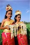 Indonésie, Bali, balinais de jeunes danseurs en costume d'offrandes dans les rizières.
