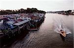 Brunei Darussalam, Borneo, A boat speeds along the river.