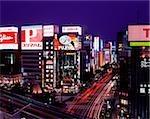 Japan, Tokyo, Ginza, View of Ginza Crossing at dusk