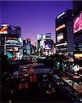 Japan, Tokyo, Shibuya, Shibuya Crossing at dusk