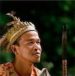 Malaysia, Sarawak, Iban Warrior wearing traditional dress