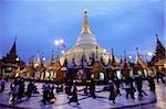Myanmar (Burma), Yangon (Rangoon) Monks at the Shwedagon Pagoda.