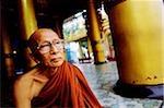 Myanmar (Burma), Yangon (Rangoon), An elderly Buddhist monk sitting at a meditation center.