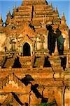 Myanmar (Burma), Bagan, Close up view of temples at Bagan from hot-air balloon