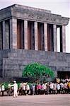 Vietnam, Hanoi, Visitors outside the tomb of Ho Chi Minh