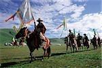 Chine, Szechuan (Sichuan), région de Kham, festival d'été de nomad cérémonie d'ouverture.