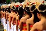 Indonesia, Bali, Gianyar, Cremation ceremony, procession of teenage girls. (grainy)