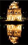 Vietnam, Hon Kiem Lake, Temple in the center of the lake at night.