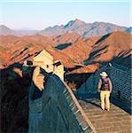 China, near Beijing, The Great Wall, Jinshanling, tourist walking along section of great wall