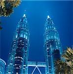 Malaisie, Kuala Lumpur, Petronas Towers, nuit