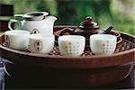 Chinese tea set on tea tray