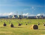 Brown Coal Power Station Beside Hay Field, La Trobe Valley, Australia