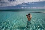 Woman in Infinity Pool, Grand Bahama Island, Bahamas
