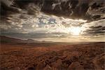 Vue panoramique sur les monts Swartberg au coucher du soleil